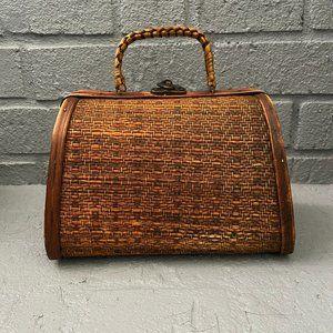 Vintage boho wicker basket trunk bag
